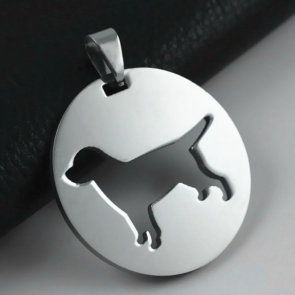 2x Round Shape Stainless Steel Labrador Lab Pet Dog ID Tag Charm Pendant Necklace