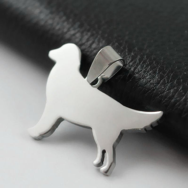 NEW Stainless Steel Golden Retriever Pet Dog Tag Charm Pendant