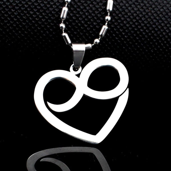 BIG Stainless Steel Infinity Sign Heart Shape Lovers Tag Charm Pendant Necklace