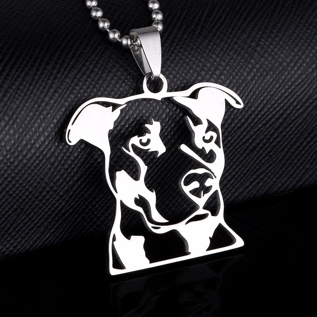Stainless Steel Natural Ear Pitbull Terrier Pittie Pet Dog Head Charm Pendant