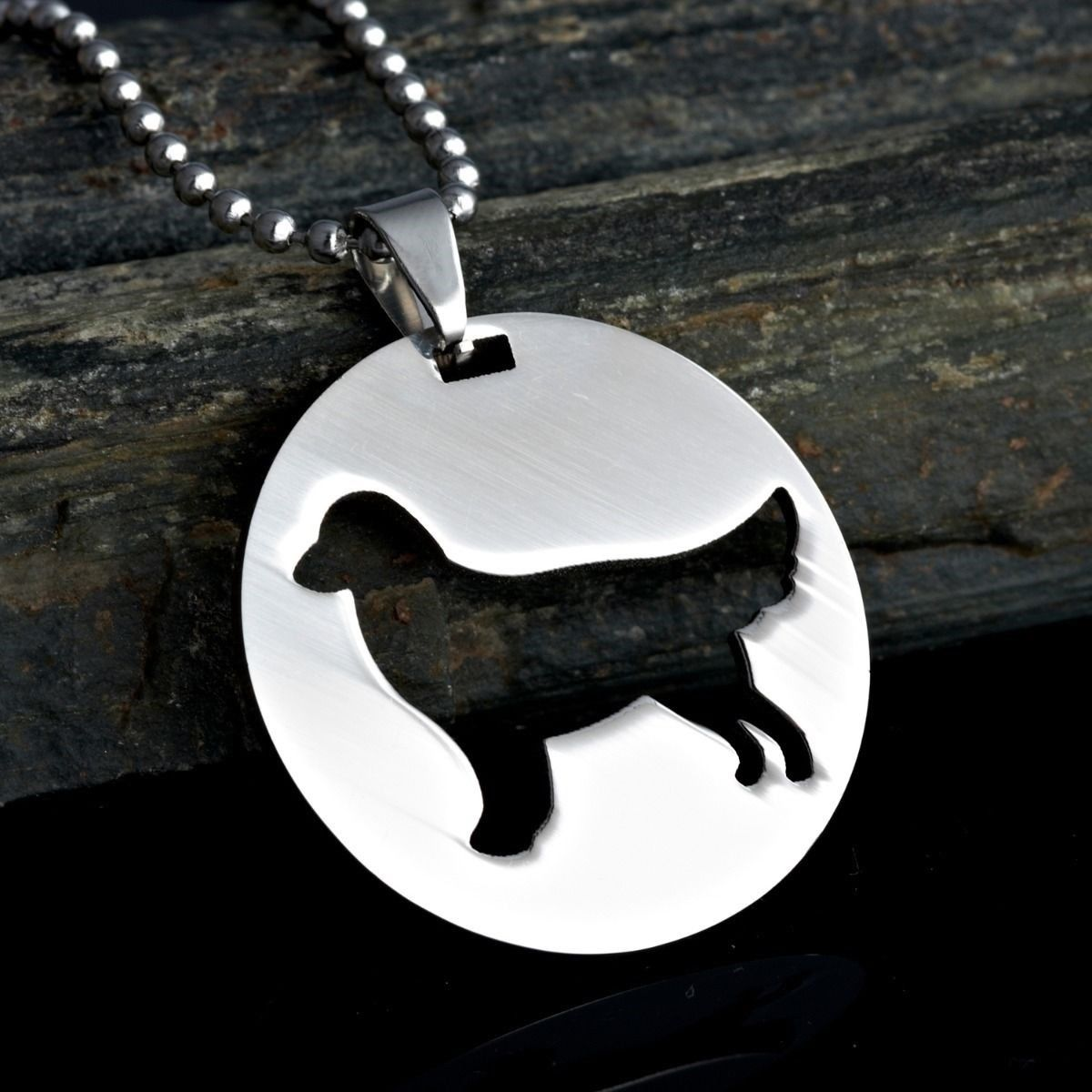 Stainless Steel Golden Retriever Round Shape Pet Dog ID Tag Collar Charm Pendant