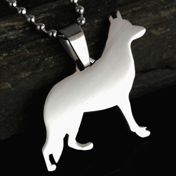 Stainless Steel German Shepherd Dog Charm Pendant Necklace