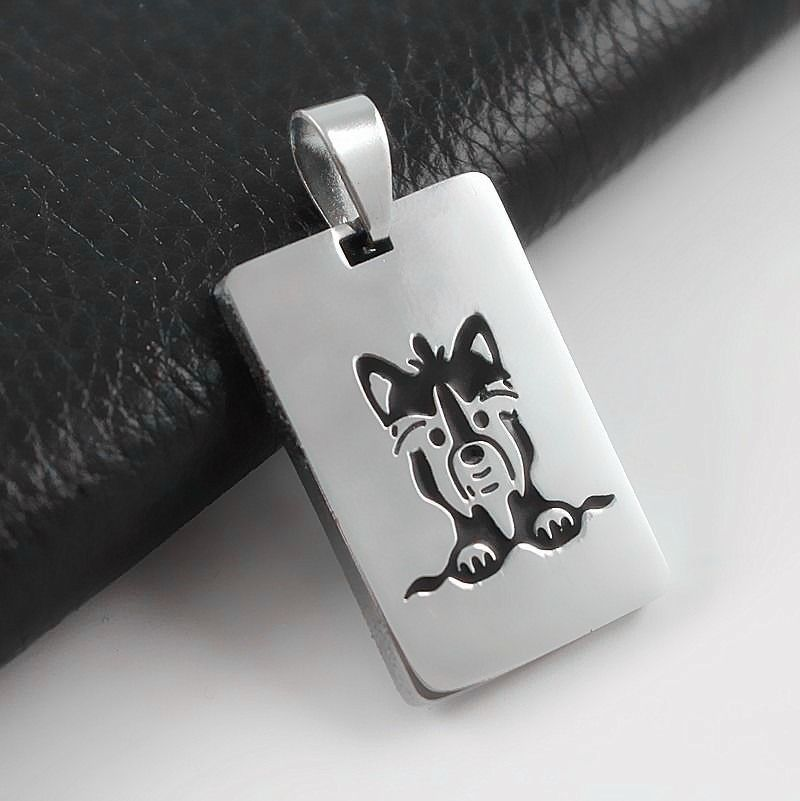 Solid Stainless Steel Yorkshire Terrier Cartoon Yorkie Pet Dog Tag Charm Pendant