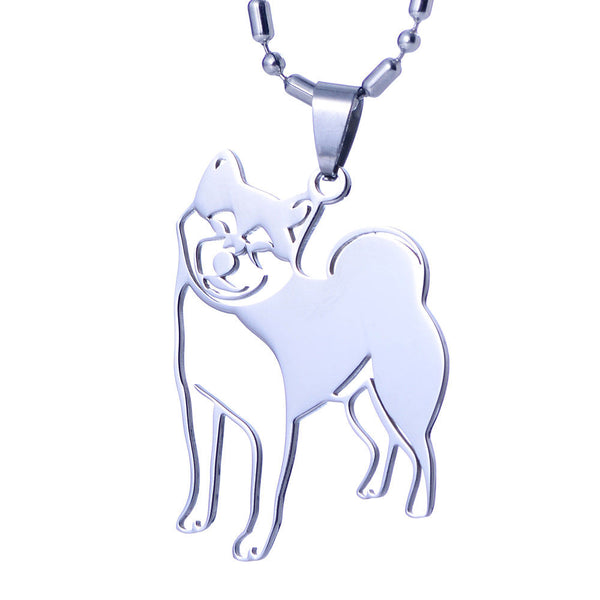 Stainless Steel Japanese Shiba Inu Ken Pet Dog Tag Collar Charm Pendant Necklace