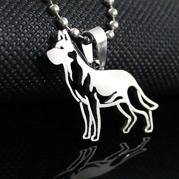 Stainless Steel German Shepherd GSD Dog Outline Pet Dog Tag Breed Collar Charm Pendant Necklace