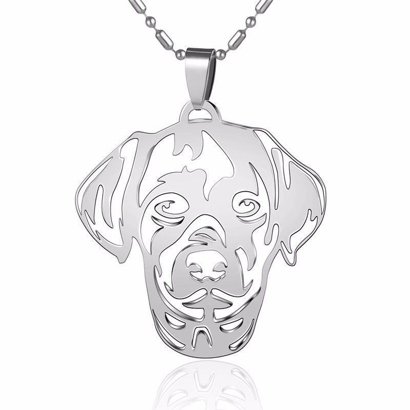 Stainless Steel Weimaraner Weim Grey Ghost Pet Dog Collar ID Tag Charm Pendant
