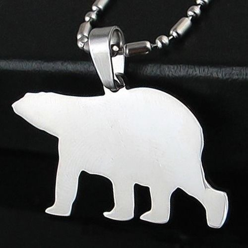 Stainless Steel Polar Bear Silhouette Arctic Wild Animal Pendant Charm Necklace