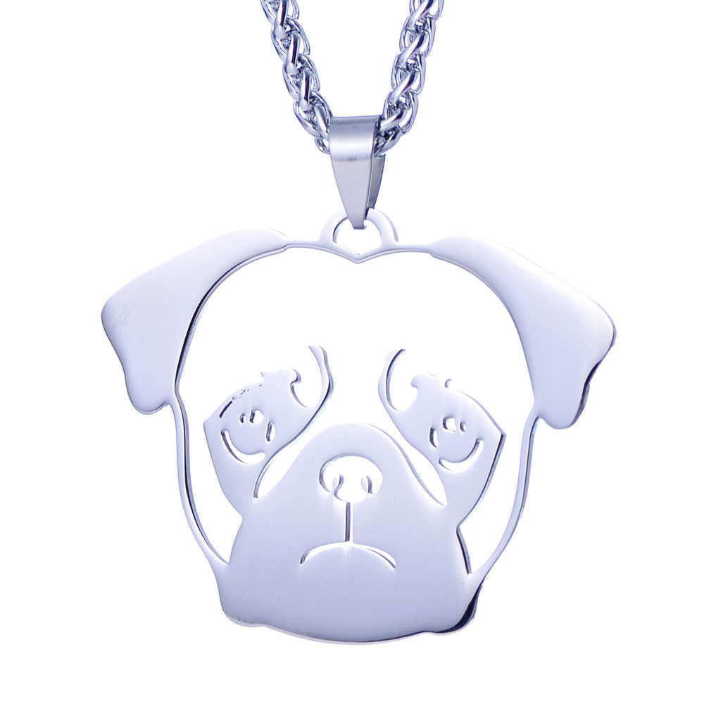 Stainless Steel Chinese Pug Dutch Bulldog Pet Dog Collar ID Tag Charm Pendant