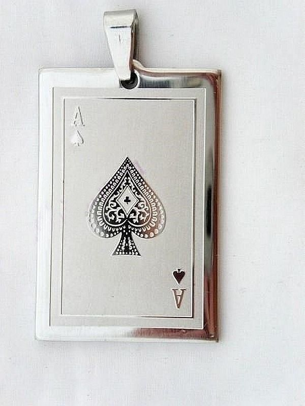 Stainless Steel Gambling Lucky Charm Spade A Ace Poker Game Playing Card Pendant