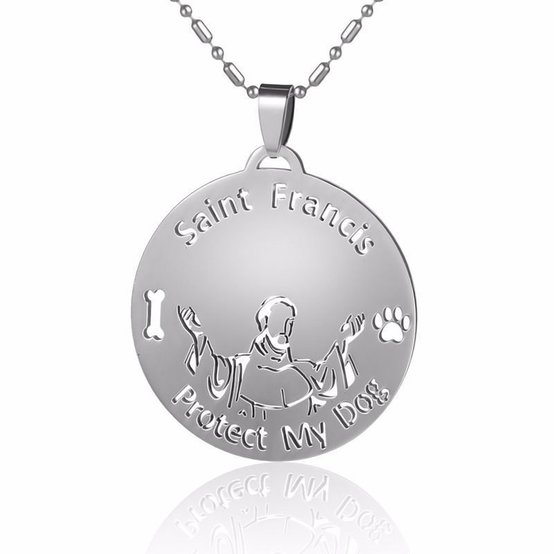 Stainless Steel Catholic St Francis of Assisi Pet Dog Tag Collar Charm Pendant