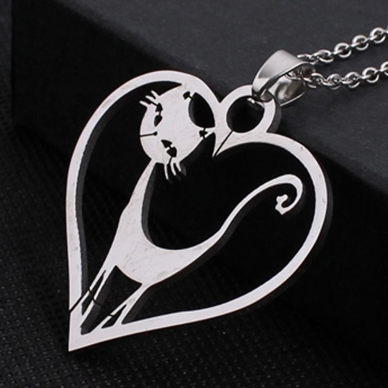 Stainless Steel Lady Pet Cats Kitten Lover in Heart Tag Charm Pendant Necklace