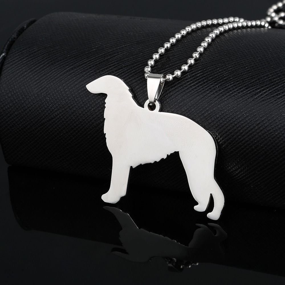 Stainless Steel Borzoi Barzoi Russian Wolfhound Sighthound Pet Dog Tag Pendant