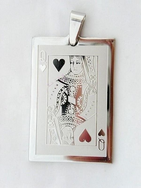 Gambling Lady Lucky Charm Heart Queen Playing Card Poker Game Pendant Necklace