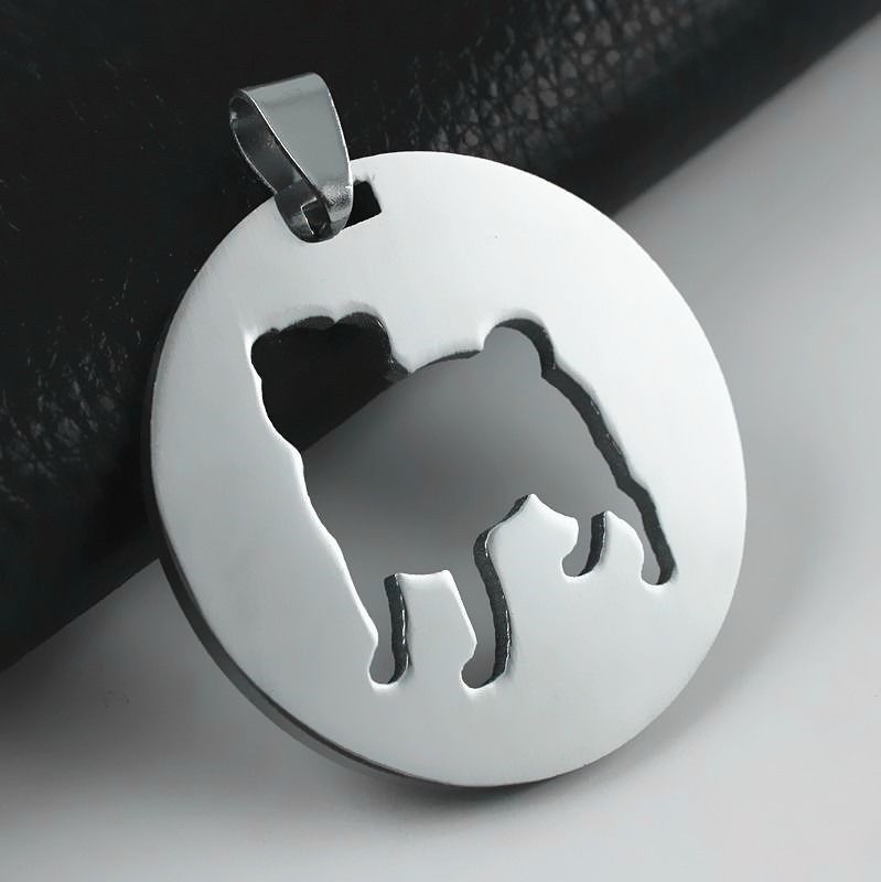 Stainless Steel Chinese Pug Dutch Bulldog Pet Dog Round Charm Pendant Necklace