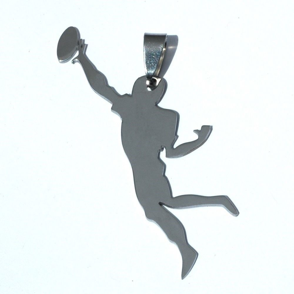 Stainless Steel American Football Gridiron Rugby Super Bowl Player Charm Pendant