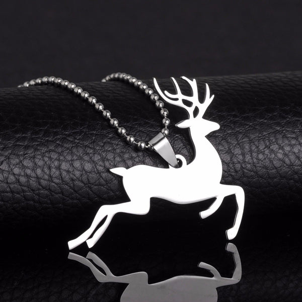 Stainless Steel Red Mule Sika Deer Rudolph Red-Nosed Reindeer Pendant Necklace