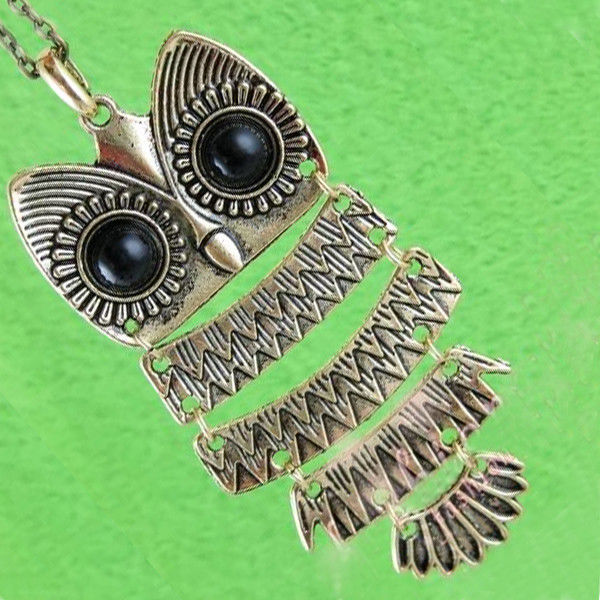 Horned Snow Barn Owl Charm Pendant Bronze Vintage Style Fashion Jewelry Necklace