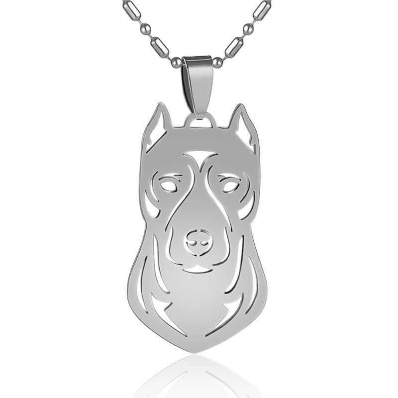 Stainless Steel Cropped Ear Pitbull Terrier Pittie Pet Dog ID Tag Charm Pendant