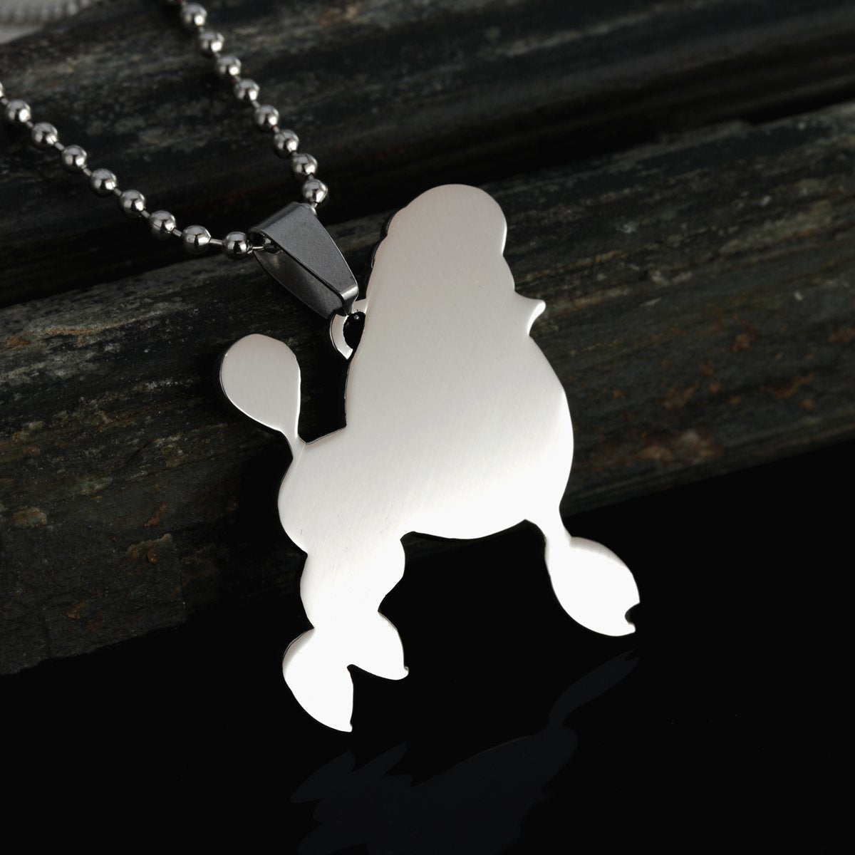 Stainless Steel Giant Miniature Standard Toy Poodle Silhouette Pet Dog Tag Breed Collar Charm Pendant Necklace