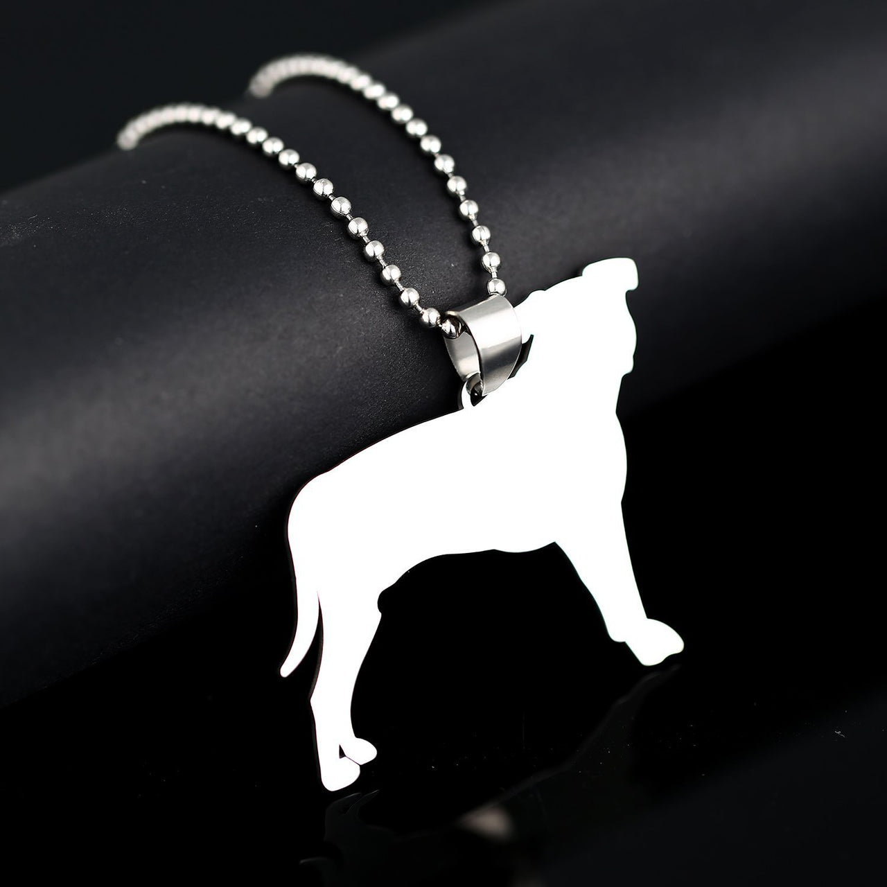 Big Size Stainless Steel Natural Ear Pitbull Dog Silhouette Pet Dog Tag Breed Collar Charm Pendant Necklace