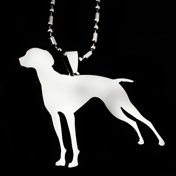 Stainless Steel Vizsla Dog Hungarian Vizsla Hungarian Pointer Magyar Silhouette Pet Dog Tag Breed Collar Charm Pendant
