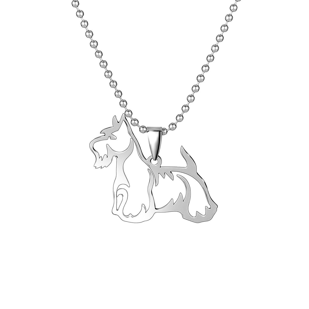 Stainless Steel Scottish Terrier Scottie outline Pet Dog Tag Breed Collar Charm Pendant Necklace
