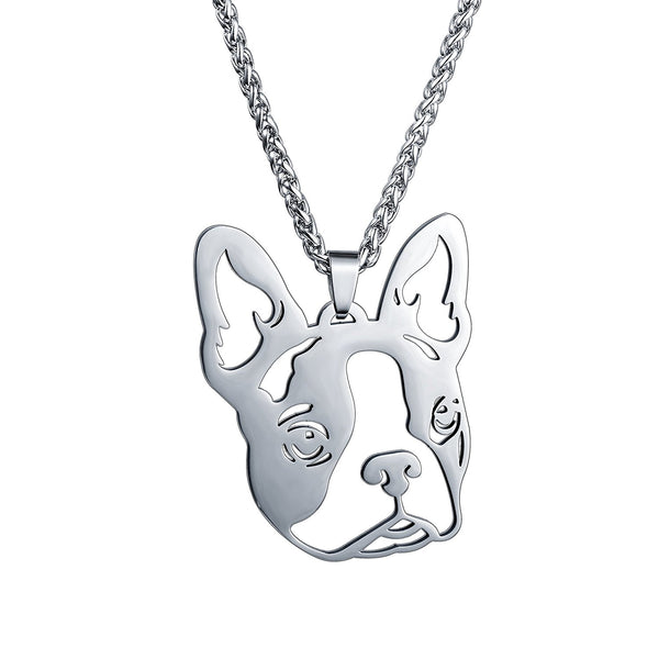 BIG Stainless Steel Boston Bull Terrier Boxwood Dog Head Face Pet Dog Tag Breed Collar Charm Pendant Necklace