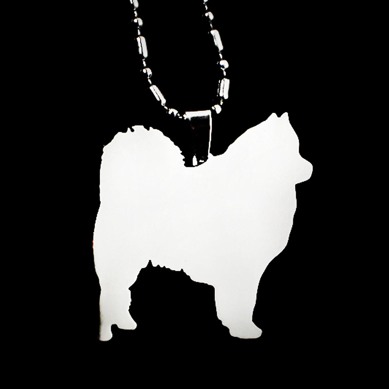 Stainless Steel American Eskimo German Spitz Eskie Silhouette Pet Dog Tag Breed Collar Charm Pendant Necklace