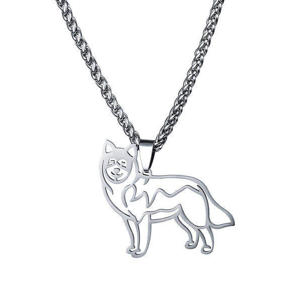 Stainless Steel Alaskan Malamute Siberian Husky Outline Pet Dog Tag Breed Collar Charm Pendant and Necklace