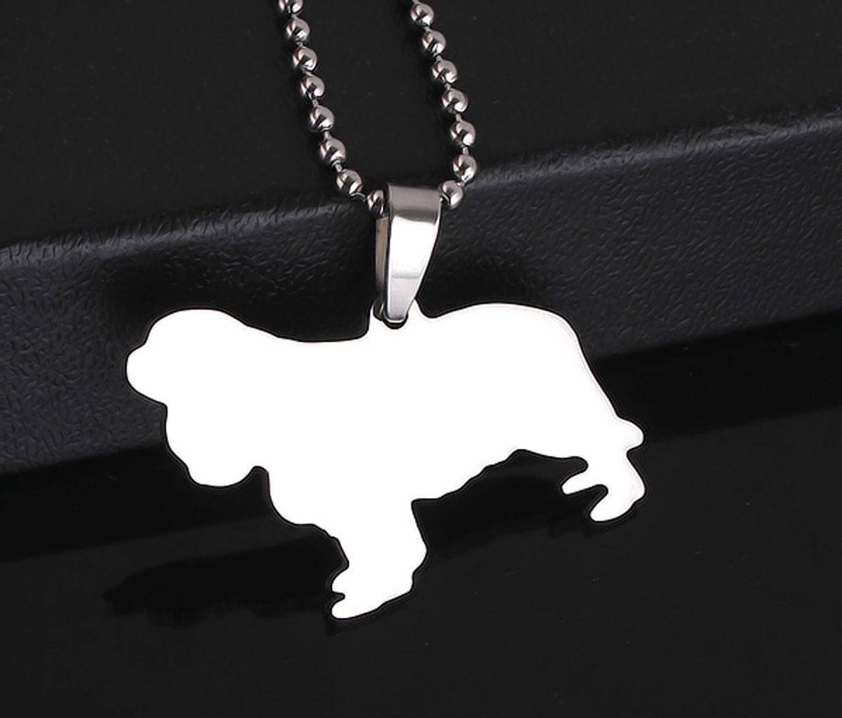 Stainless Steel Cavalier King Charles Spaniel Sillouette Pet Dog Tag Breed Collar Charm Pendant
