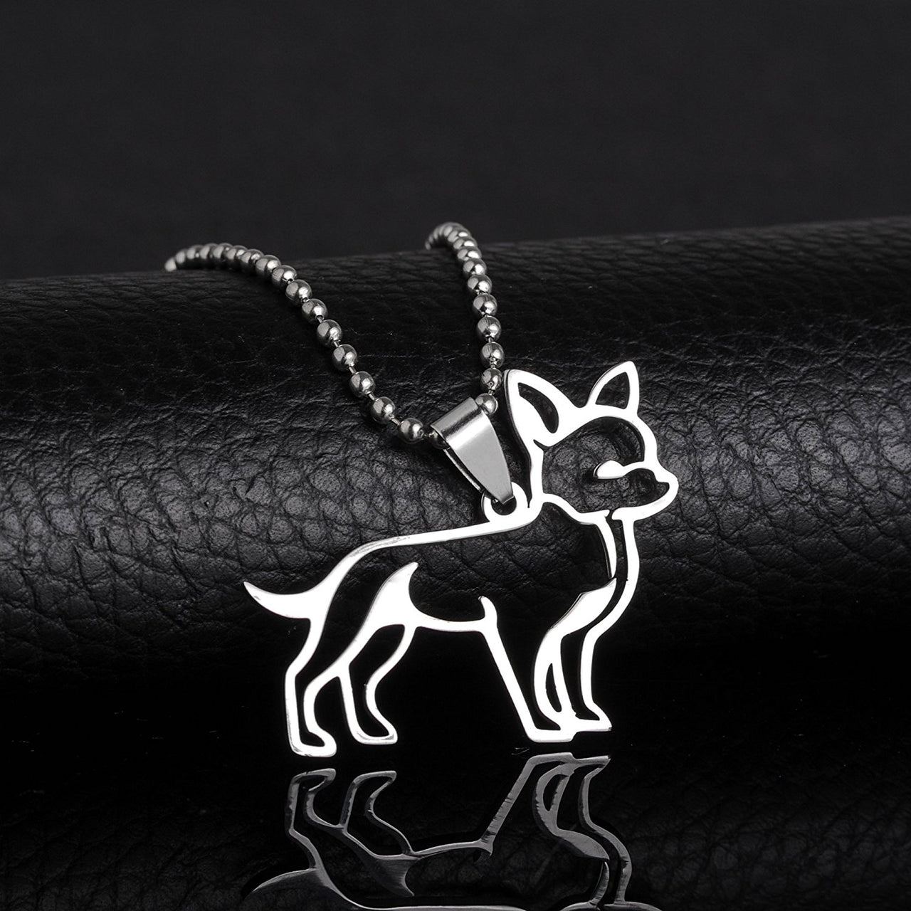 Stainless Steel Chihuahua Outline Dog Pet Dog Tag Breed Collar Charm Pendant Necklace