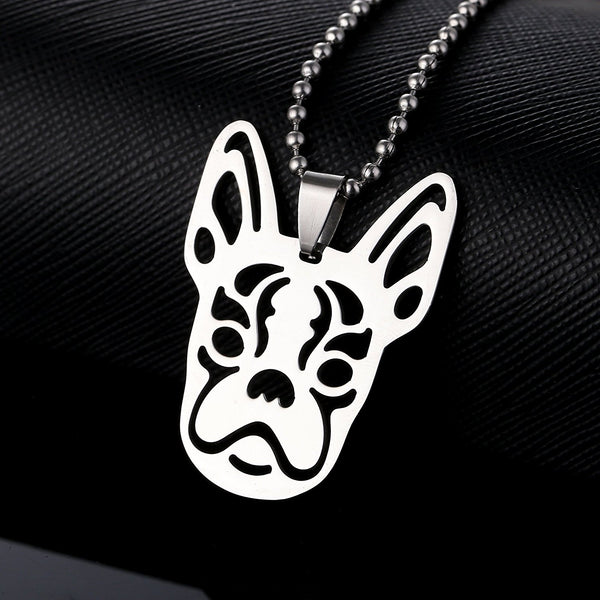 Stainless Steel Boston Bull Terrier Boxwood Dog Head Face Pet Dog Tag Breed Collar Charm Pendant Necklace