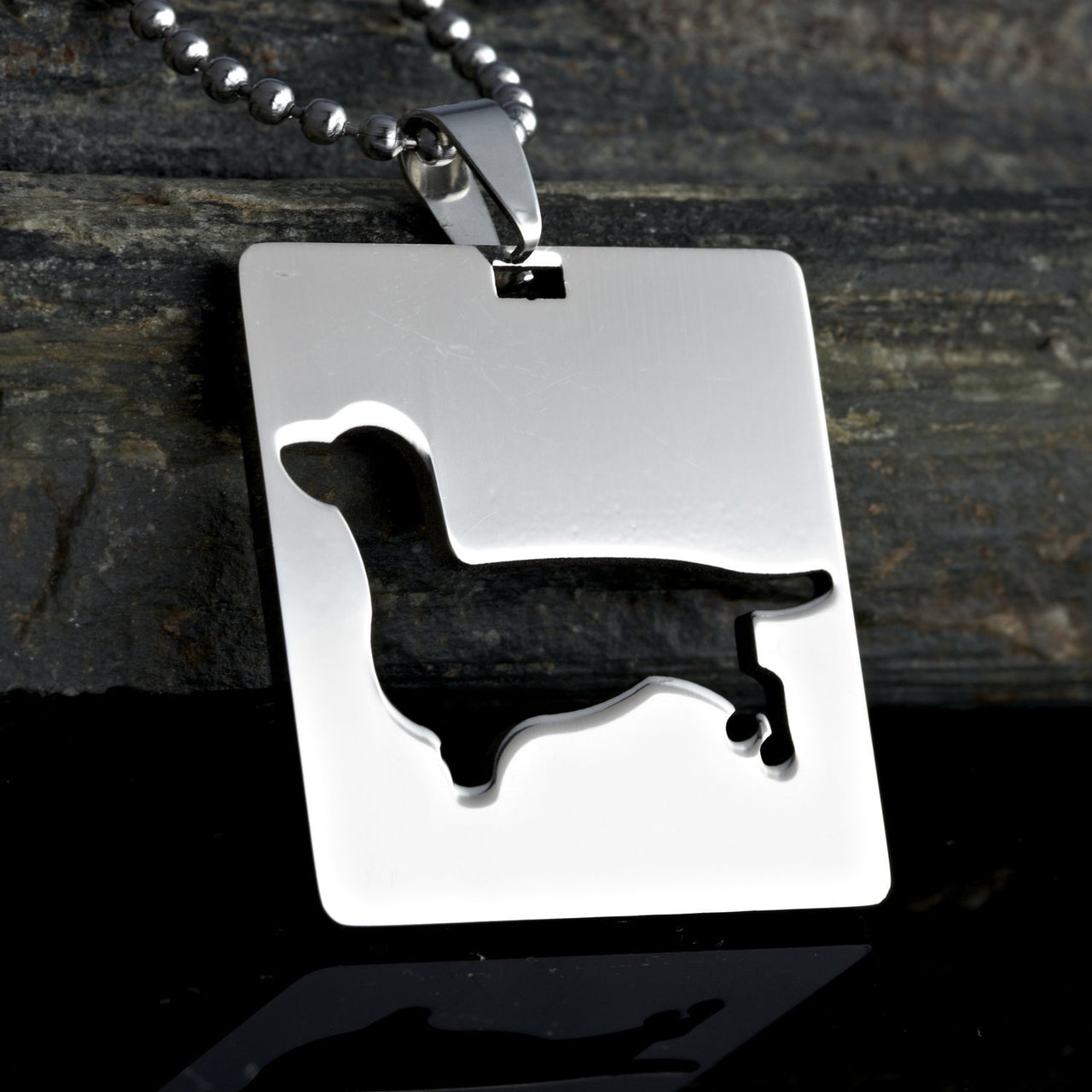 2x Stainless Steel Square Shape Dachshund Doxie Wiener Sausage Dog Silhouette Pet Dog Tag Breed Collar Charm Pendant Necklace