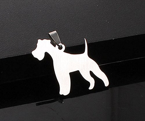 Stainless Steel Smooth Wire Miniature Fox Terrier Silhouette Pet Dog Tag Breed Collar Charm Pendant Necklace