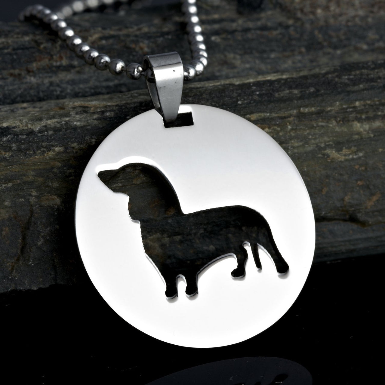 2x Stainless Steel Round Shape Dachshund Doxie Wiener Sausage Dog Silhouette Pet Dog Tag Breed Collar Charm Pendant Necklace Version 2