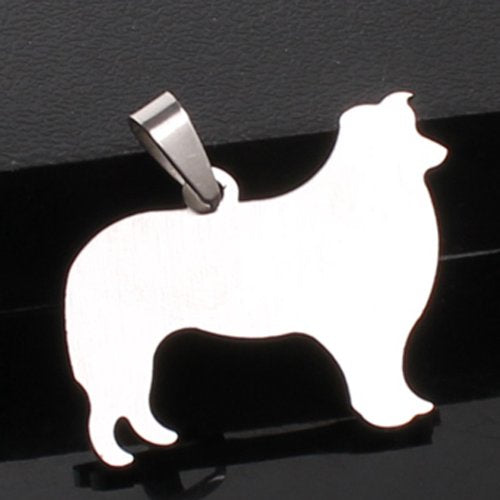 Stainless Steel Border Collie Dog Silhouette Pet Dog Tag Breed Collar Charm Pendant Necklace