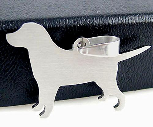 Stainless Steel Labrador Lab Silhouette Pet Dog Tag Collar Jewelry Charm Pendant Necklace
