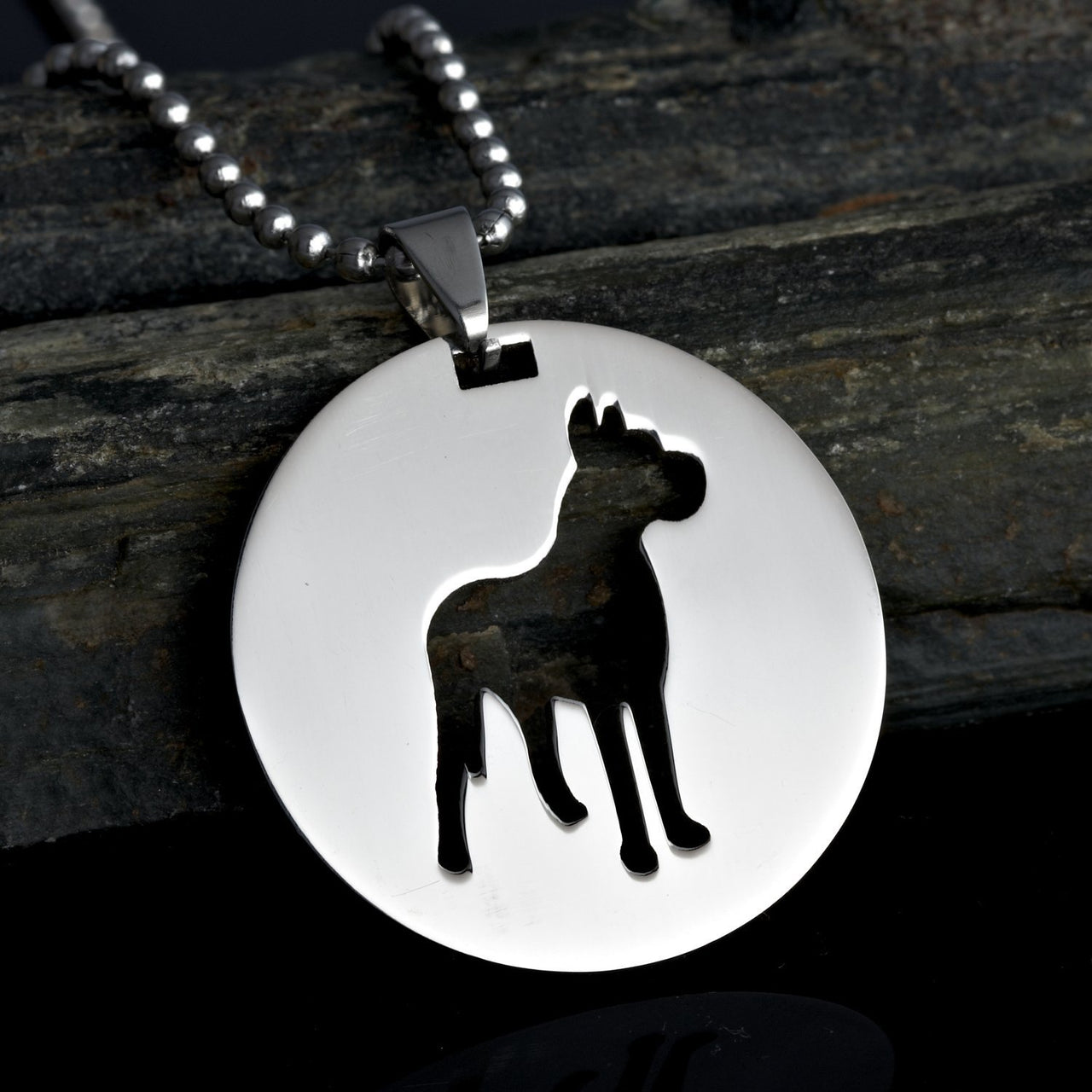 2x Stainless Steel Round Shape Great Dane Silhouette Gentle Giant Deutsche Dogge German Mastiff Pet Dog Tag Collar Jewelry Charm Pendant Necklace