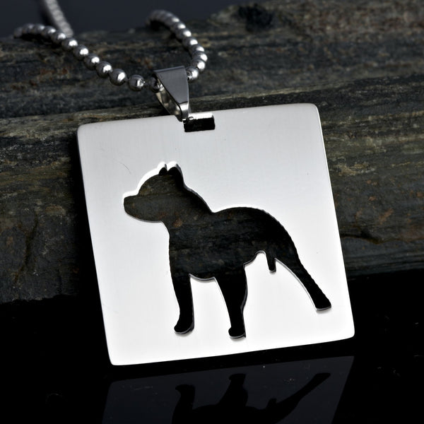 Stainless Steel Square Shape Pitbull Pit Bull staffordshire bull terrier Dog Silhouette Pet Dog Tag Breed Collar Charm Pendant Necklace