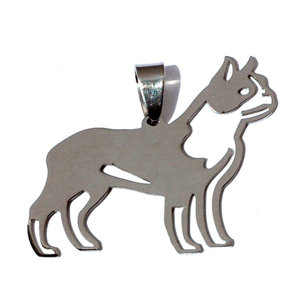 Stainless Steel Boston Bull Terrier Boxwood Dog Silhouette Pet Dog Tag Breed Collar Charm Pendant Necklace