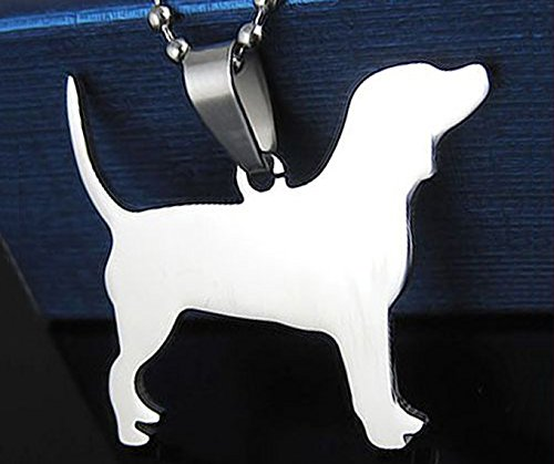 Stainless Steel English Beagle Silhouette Pet Dog Tag Breed Collar Charm Pendant Necklace