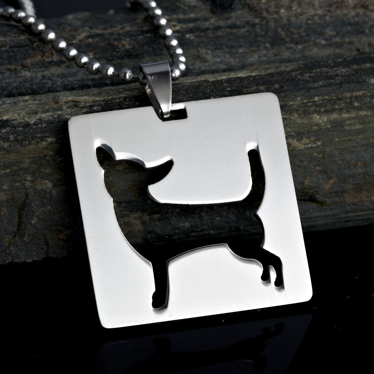 2x Stainless Steel Square Shaped Chihuahua Silhouette Dog Silhouette Pet Dog Tag Breed Collar Charm Pendant Necklace