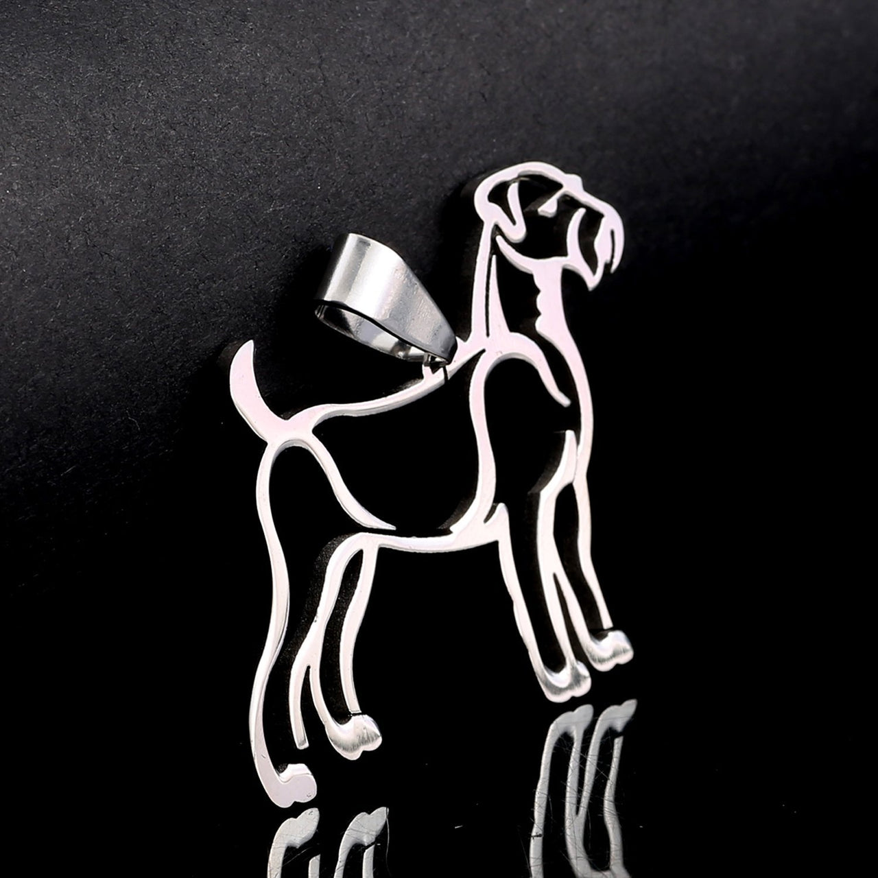 Stainless Steel Airedale Outline Silhouette Pet Dog Charm Pendant Necklace