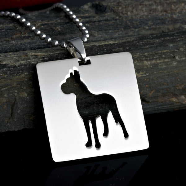 Stainless Steel Square Shape Great Dane Silhouette Gentle Giant Deutsche Dogge German Mastiff Pet Dog Tag Collar Jewelry Charm Pendant Necklace