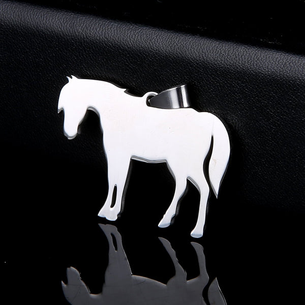 Stainless Steel Standing Pony Horse Pet Horse Tag Breed Collar Charm Pendant Necklace