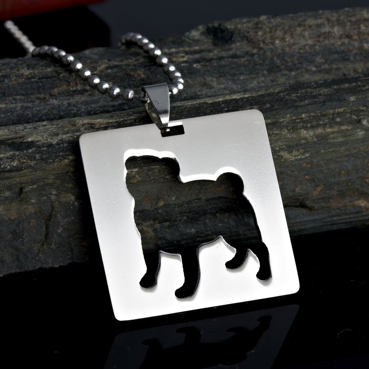 Stainless Steel Square Shaped Chinese Pug Silhouette Dog Silhouette Pet Dog Tag Breed Collar Charm Pendant Necklace