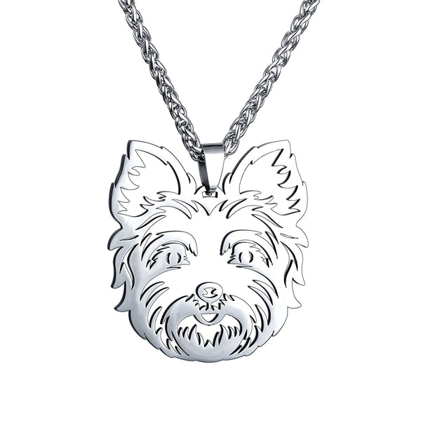 Stainless Steel Yorkshire Terrier Yorkie Head Pet Dog Collar Tag Pendant Necklace