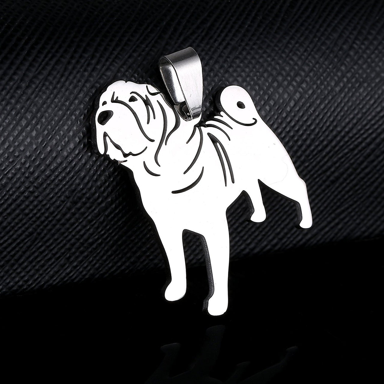Stainless Steel Sharpei Chinese Shar Pei Silhouette Pet Dog Tag Breed Collar Charm Pendant Necklace
