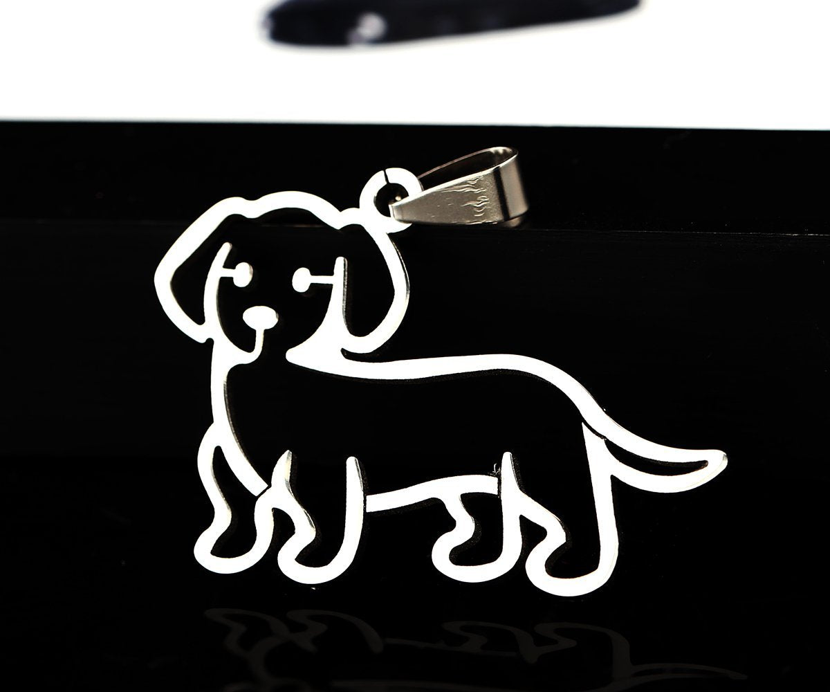 Stainless Steel Dachshund Doxie Wiener Sausage Dog Cartoon Outline Pet Dog Tag Breed Collar Charm Pendant Necklace Version 2