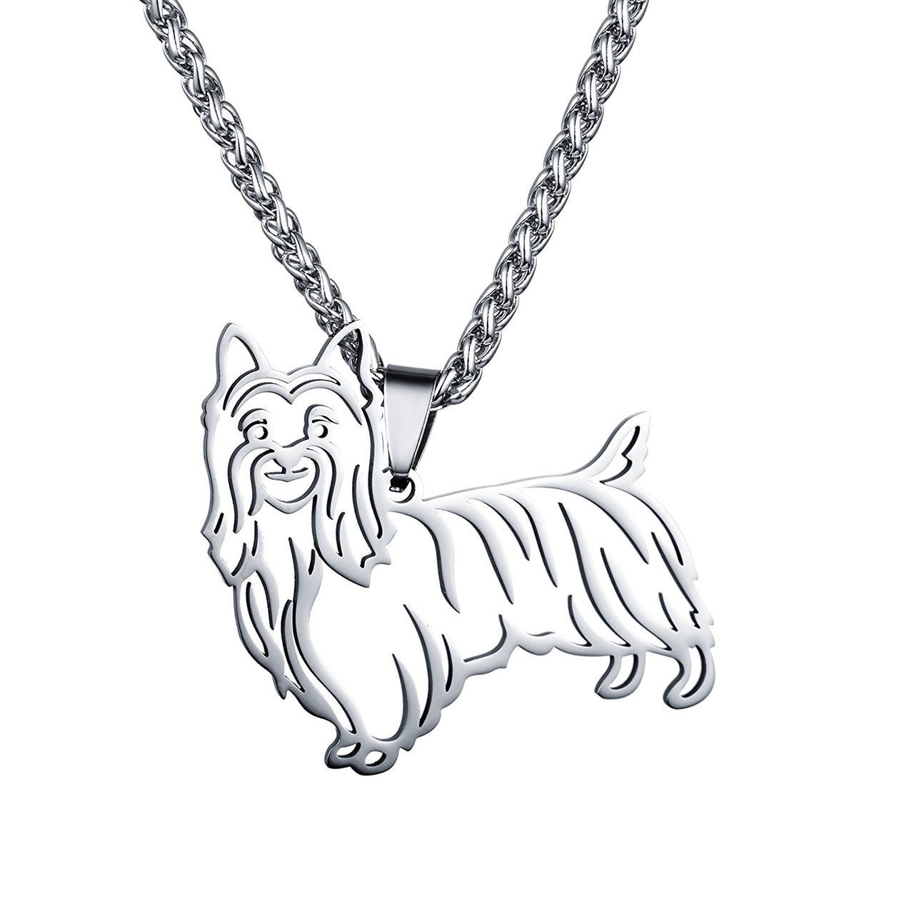 Stainless Steel Australian Silky Terrier Outline Pet Dog Tag Breed Collar Charm Pendant Necklace